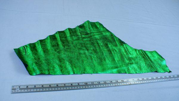 Lime green metallic leather